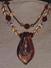 SEMI PRECIOUS CRYSTAL STONE NECKLACE & EARRING SET *  Citrine * Carnelian *