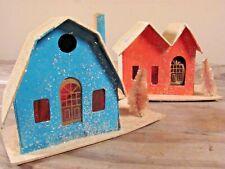 Vintage Christmas putz village houses stores churches mica glitter snow Japan