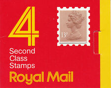 Gb: 1987: 4 x 13p Window Booklet, Barcode 014721100036, square catch