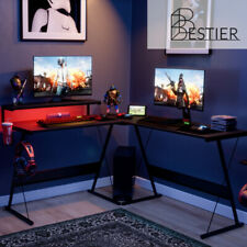 Computer Gaming Desk L Shaped Home Office Laptop Pc Table Led Study Workstation