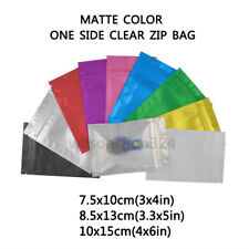 Matte Colors One Side Clear Foil Zipper Bags Frosted Zip lock Pouch Sample Gift