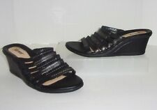 Earth Black & Gray / Charcoal Leather Wedge Sandals Size 9 Shoes Slides