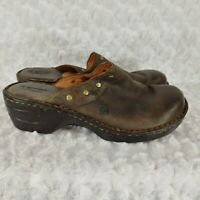 born womens shoes brown leather mule clogs size 9 distressed block heel comfort