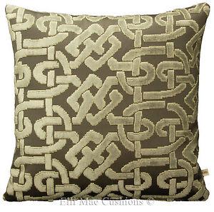 Zinc Soloman Sage Designer Fabric Cut Velvet Geometric Cushion Pillow Cover