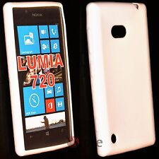Cover Custodia Per Nokia Lumia 720 Silicone Gel TPU Bianco + Pellicola Display