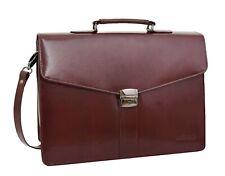Brown Leather Briefcase For Mens Laptop Bag Business Organiser Shoulder Case