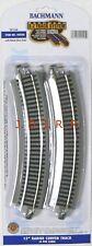 "HO Scale Model Railroad Trains Bachmann Silver EZ Track 15"" Rad Curve 4 pk 44505"