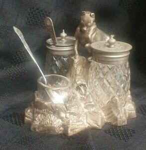 V rare Antique Silver Plate/white metal cruet Set very good original condition