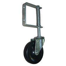 """1x spring loaded gate castor with 100mm (4"""") hard black rubber wheel 55kg"""