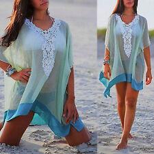 UK Ladies Chiffon Wrap Dress Sarong Pareo Beach Bikini Swimwear Cover Up Scarf