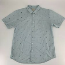 Walker Refinery Mens Button Down Shirt Size XL Anchor Print Blue Short Sleeve