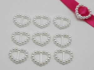 200 Pure White Pearl Heart Buckle Invitation Ribbon Slider 17X14mm For Wedding