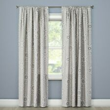 "Threshold Light-Filtering Curtain Panel Gray Medallion with Rod Pocket 54"" x 84"""