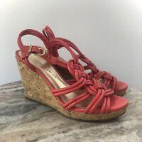 Antonio Melani Womens Pink Shoe Sz 6 Wedges Sandals Heels Comfort Leather -Q1