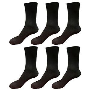6 pairs 98% Cotton Mens Comfortable Casual Crew Dress Socks Mid Calf Size 9-11