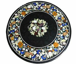 """36"""" Marble Dining Table Top Inlay Rare Semi Round Center Coffee Table AR0886"""