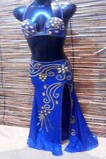Egyptian Belly Dance Costume bra & Skirt Set Professional Dancing Blue Beads