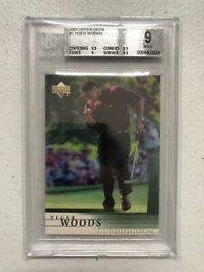 💥2001 Upper Deck RC #1 Tiger Woods Rookie Golf Card Graded BGS 9 MINT💥
