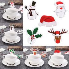 10X Christmas Snowman Santa Claus Hat Wine Glass Xmas Party Cards Decoration ##