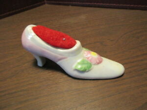 Vintage Sewing - Glazed Porcelain Pincushion Colorful Lady's Shoe Floral Deco