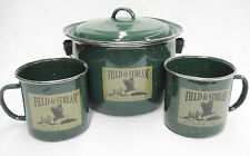 Field & Stream Green Enamelware Soup Set Chili Kettle Pot and 2 Large Mugs