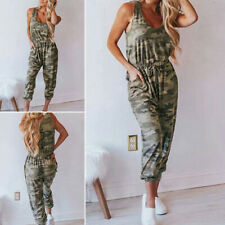 Women's Round Neck Sleeveless Camouflage Printed Drawstring Jumpsuit Romper