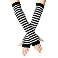 Striped Fingerless Thumb Gloves Arm Warmers Ladies Women Mitten Black and White