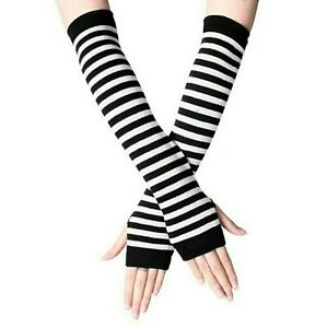 Fingerless Thumb Gloves Arm Warmers Striped Ladies Women Mitten Black and White