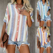 Women Summer Color Striped Button T Shirt Short Sleeve Loose Blouse Casual Tops