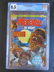 Werewolf By Night 11 CGC 8.5 White Pages 1st App The Hangman