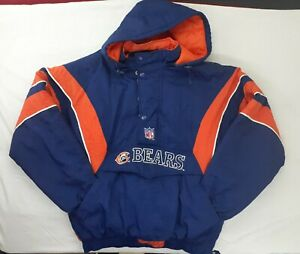 VINTAGE STARTER PRO LINE AUTHENTIC CHICAGO BEARS 1/4 ZIP PULLOVER JACKET SIZE XL