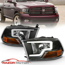 For 2009-2018 Dodge Ram 1500 2500 3500 Black Led Bar Plank style Headlights pair (Fits: Dodge)
