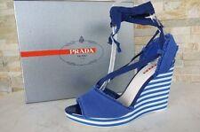 Prada Gr 38 Cuña Sandalias con Plataforma Cuñas Zapatos Cobalto Azul Nuevo
