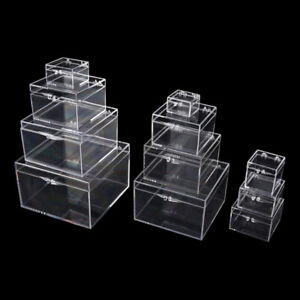 Multipurpose Clear Plastic Storage Box Square Display Case Jewelry Beads Boxes