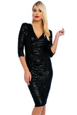 Vintage Chic 50s Beverley Sequin Velour Pencil Evening Party Midi Dress in Black