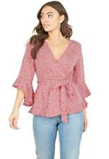 Womens Red White Mini Scattered Spot Frill Sleeve Wrap Blouse Top