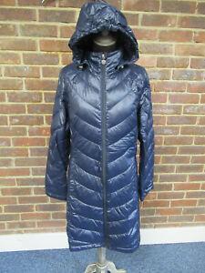Calvin Klein Ladies Dark Blue Packable Lightweight Hooded Coat Size Small  3097