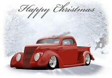 Ford 37 1937 V8 Hot Rod Pick Up Christmas Greetings Card