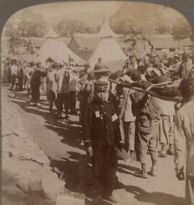 Wounded Japanese Brought in by Red Cross. Port Arthur. japanese Russian War