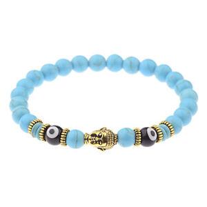 Men Women Natural Obsidian Hamsa Eyes Beads Gold Buddha Head Lucky Bracelet Gift