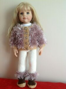 """Dolls clothes knitting  pattern.18"""" doll. Fur Jacket, leggings and boots. KNM65"""