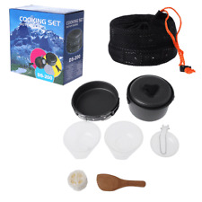 Portable Outdoor Cooking 8Pcs Set Camping Hiking Cookware Picnic Bowl Pot Pan
