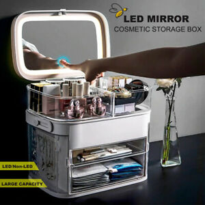 Portable LED Cosmetic Organizer Storage Box Makeup Jewellery Case Drawer Mirror