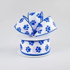 "10 Yards Pawprint Paw Print Dog Blue Wildcat Wired Ribbon 1 1/2""W 30 Ft Roll"