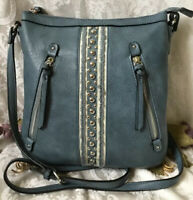 CHARMING CHARLIE Pale Blue Faux Leather Studded Crossbody Handbag EUC