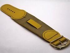 """Yellow Leather 13mm 1/2"""" Vintage Wrist Band Gold Tone Buckle New Old Stock"""