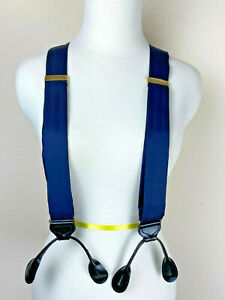 100% Silk Men Suspenders Y Back Button Tabs Navy Blue England Gold Finish Gift