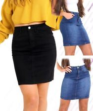 Womens Stretch Denim Skirt Pencil Straight skirts Size 8 10 12 14 Blue