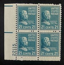 US Stamps, Scott #826 21c Plate Block of C.A. Arthur VF/XF M/LH 1938 Pres Issue
