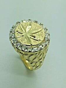 9ct Yellow Solid Gold CZ Cannabis Leaf Ring